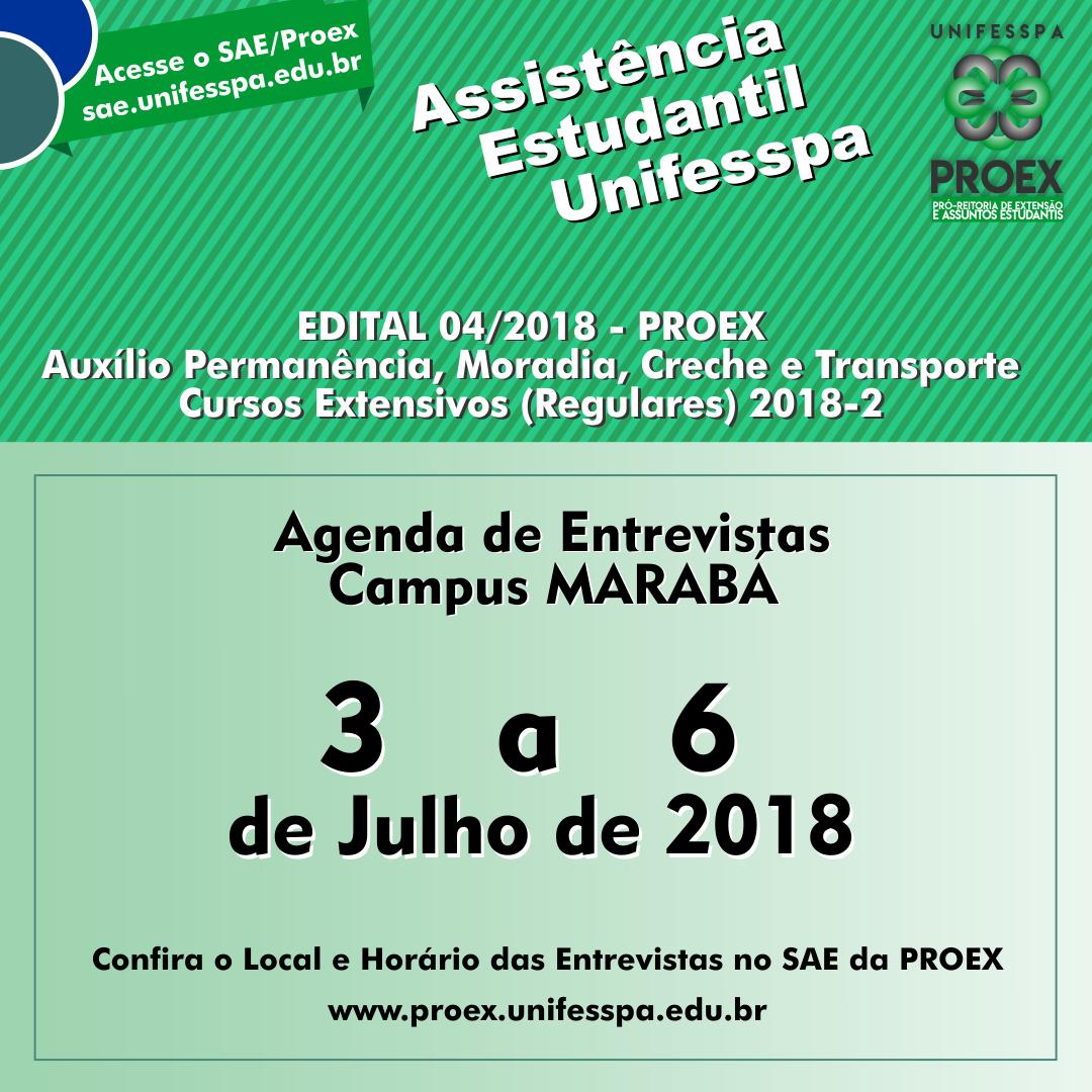 Divulgação proap 2018 banner entrevistas marabá 3 a 6 de julho